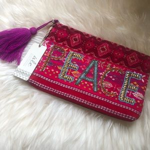 Handbags - Ale by Alessandra PEACE beaded clutch with tassel